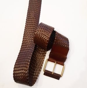 Vintage Bonded Leather Wide Braid Belt XL